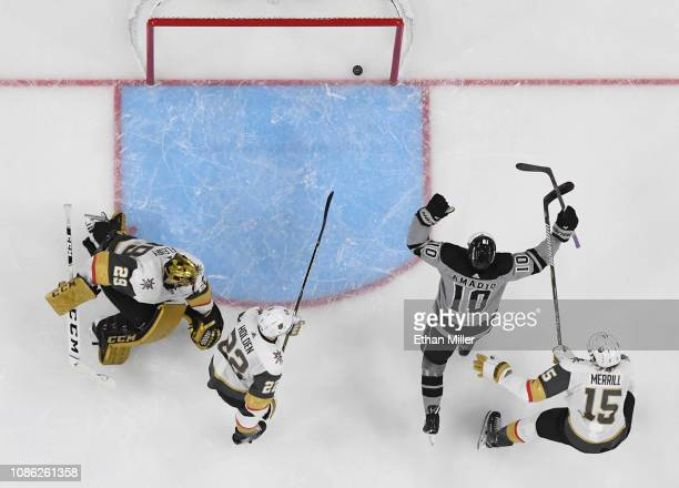 Michael Amadio of the Los Angeles Kings celebrates after scoring a secondperiod goal against MarcAndre Fleury of the Vegas Golden Knights as Nick...