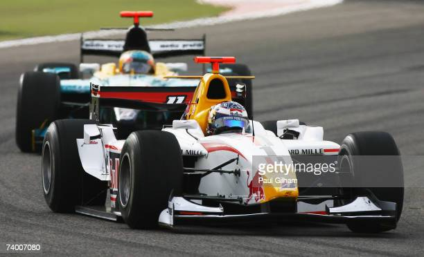 Michael Ammermuller of Germany and ART Grand Prix competes during the GP2 Series race held before the Bahrain Formula One Grand Prix at the Bahrain...