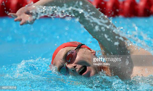 Michael Amos of Great Britain competes in the Men's 800m Freestyle at Parc JeanDrapeau during the 15th FINA World Masters Championships on August 03...