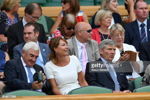 Michael and Carole Middleton look on from the centre court royal box on day four of the Wimbledon Lawn Tennis Championships at the All England Lawn...