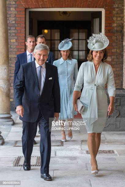 Michael and Carole Middleton parents of Britain's Catherine Duchess of Cambridge arrive for the christening of Britain's Prince Louis of Cambridge at...