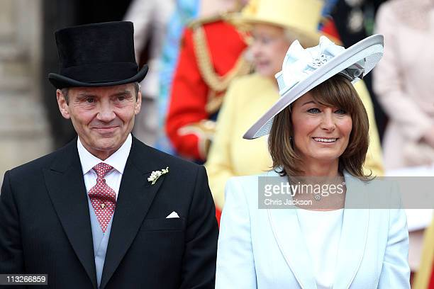 Michael and Carole Middleton smile at the crowds following the marriage of Prince William, Duke of Cambridge and Catherine, Duchess of Cambridge at...