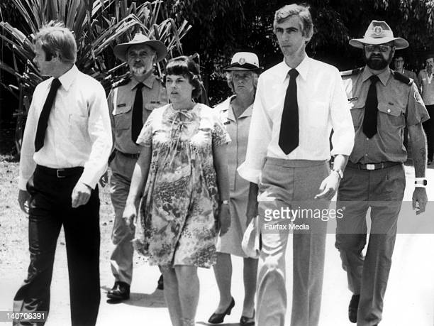 Michael and Lindy Chamberlain and solicitor, Geoff Cavanagh, return from a court viewing of the car the Chamberlains drove to Ayers Rock when their...