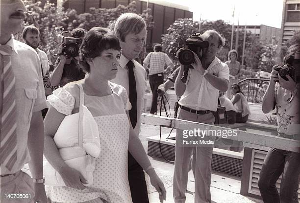 Michael and Lindy Chamberlain arrive at the Alice Springs Courthouse during the second inquest into the disappearance of their baby daughter, Azaria...