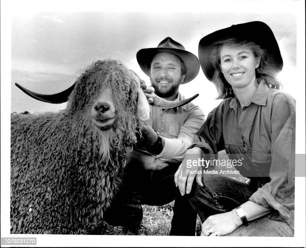 Michael and Lynne Peel Angora goat breeders on their property at Cobbity October 03 1986
