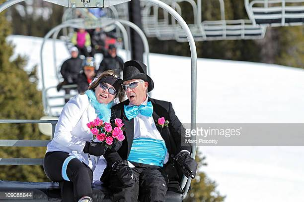Michael and Marcia Linley of Fort Collins Co sing wedding tunes as they ride Chair 2 to the top of Loveland Ski Area prior to the start of the 20th...