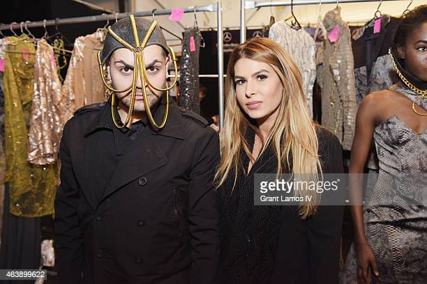 Michael and Stephanie Costello pose backstage at the Art Hearts Fashion Presented By AIDS Healthcare Foundation fashion show during MercedesBenz...