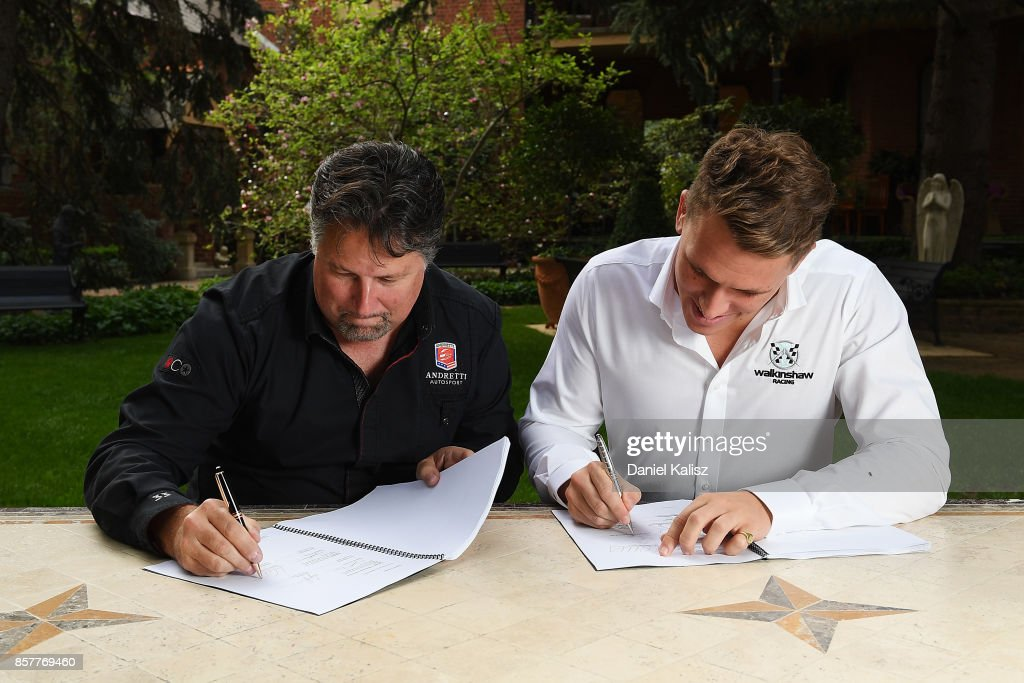 Michael Andretti of Andretti Autosport is pictured with Ryan Walkishaw of Walkinshaw Racing after announcing Walkinshaw Andretti United ahead of this weekend's Bathurst 1000, which is part of the Supercars Championship at Mount Panorama on October 5, 2017 in Bathurst, Australia.