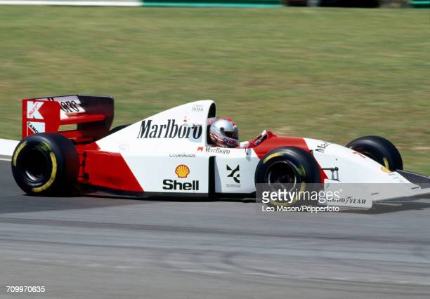Michael Andretti of the United States driving the Marlboro McLaren MP4/8 Ford HBE7 V8 during practice for the Yellow Pages South African Grand Prix...
