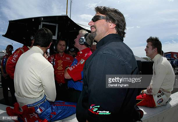 Michael Andretti team owner of Andretti Green Racing looks on during practice for the Indy Racing League IndyCar Series Menards AJFoyt Indy 225 on...