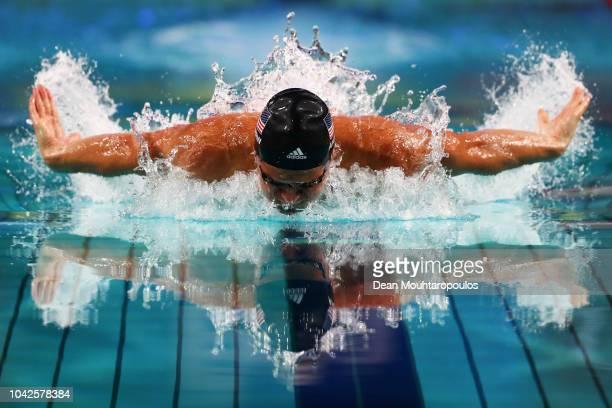 Michael Andrew of USA competes in the Mens 100m Individual Medley Final on day 1 of the FINA Swimming World Cup held at Pieter van den Hoogenband...