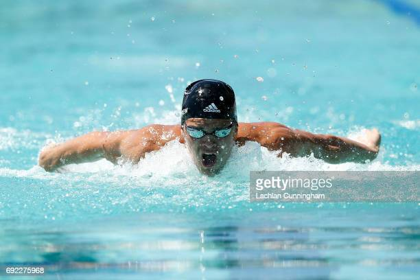 Michael Andrew swims in the 200m individual medley heats during Day 4 of the 2017 Arena Pro Swim Series Santa Clara at George F Haines International...