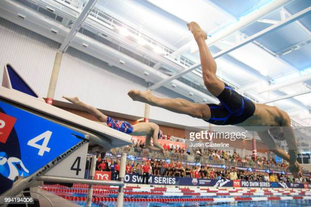 Michael Andrews competes in the men's 100m breaststroke final at the 2018 TYR Pro Series on July 8 2018 in Columbus Ohio
