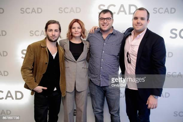 Michael Angarano Jennifer Morrison Asher Bogart and Asher Bogart pose backstage at 'Sun Dogs' QA during the 20th Anniversary SCAD Savannah Film...