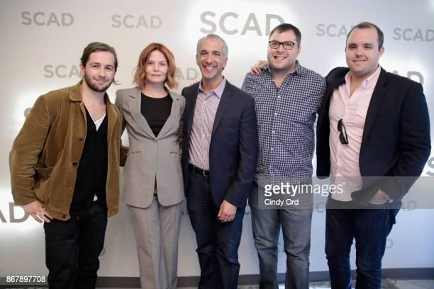 Michael Angarano Jennifer Morrison Scott Mantz Andrew Carlberg and Asher Bogart pose backstage at 'Sun Dogs' QA during the 20th Anniversary SCAD...