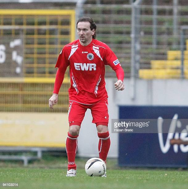 Michael Anicic of Worms plays the ball during the Regionalliga match between 1 FC Saarbruecken and Wormatia Worms at the Ludwigspark stadium on...