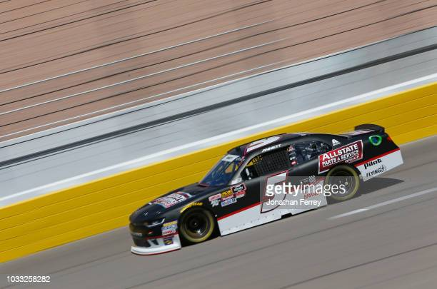 Michael Annett driver of the Allstate Parts Service Group Chevrolet drives during practice for the NASCAR Xfinity Series DC Solar 300 at Las Vegas...