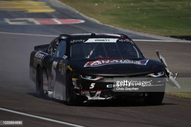 Michael Annett driver of the Allstate Parts Service Group Chevrolet is involved in an ontrack incident during the NASCAR Xfinity Series DC Solar 300...
