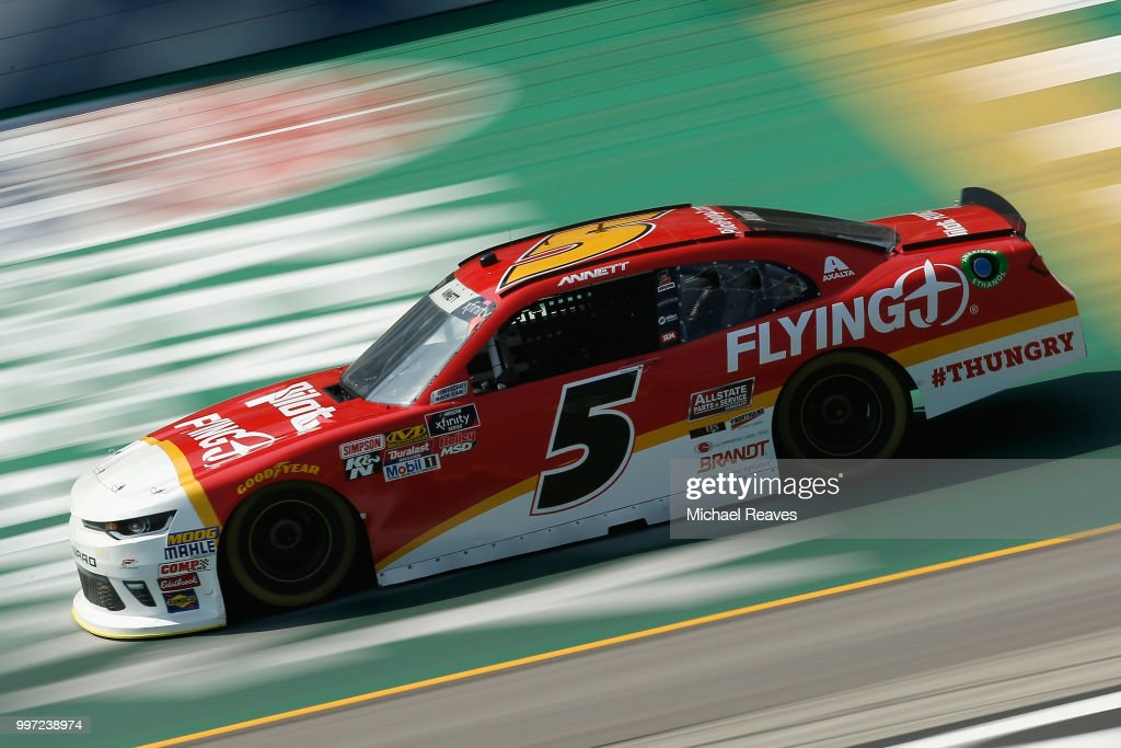 Michael Annett, driver of the #5 Pilot Flying J Chevrolet, practices for the NASCAR Xfinity Series Alsco 300 at Kentucky Speedway on July 12, 2018 in Sparta, Kentucky.