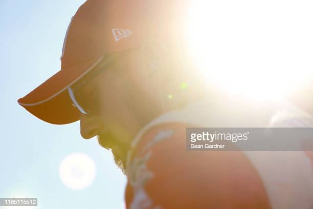 Michael Annett, driver of the Pilot/Flying J Chevrolet, stands on the grid during the Salute to Veterans Qualifying Day Fueled by The Texas Lottery...