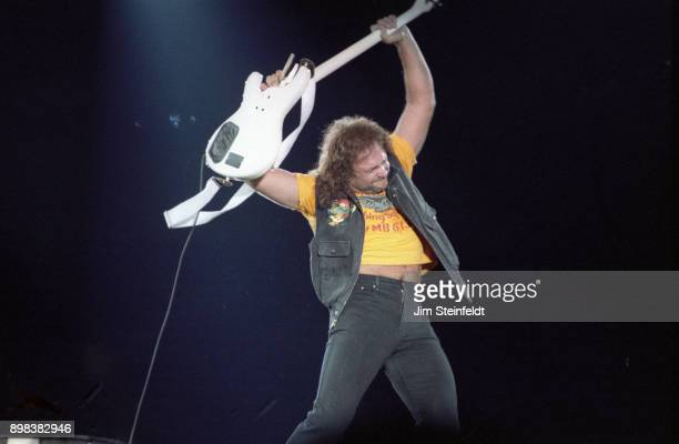 Michael Anthony bassist for Van Halen performs at the Hubert H Humphrey Metrodome during the Monsters of Rock concert in Minneapolis Minnesota on...
