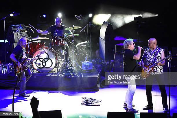 Michael Anthony Jason Bonham Sammy Hagar and Vic Johnson of Sammy Hagar the Circle perform at Red Rocks Amphitheatre on September 5 2016 in Morrison...