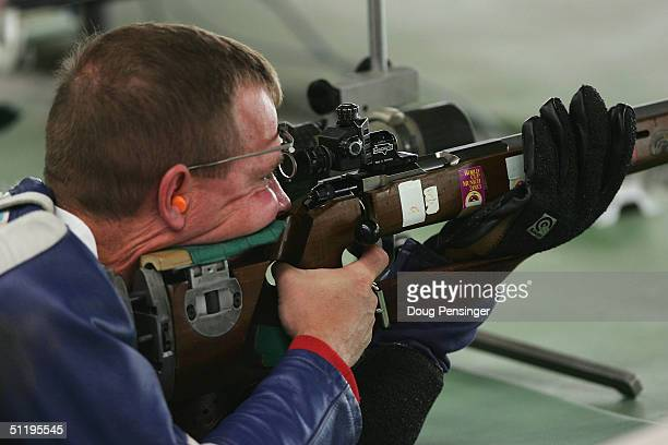 Michael Anti of the United States competes during the men's 50 metre prone position qualifying event on August 20 2004 during the Athens 2004 Summer...