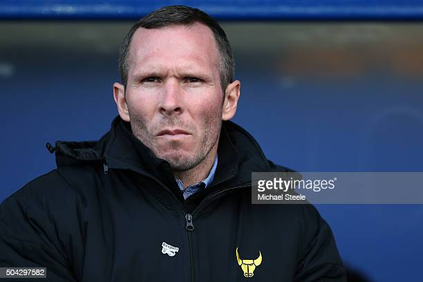 Michael Appleton the manager of Oxford United looks on during The Emirates FA Cup third round match between Oxford United and Swansea City at the...