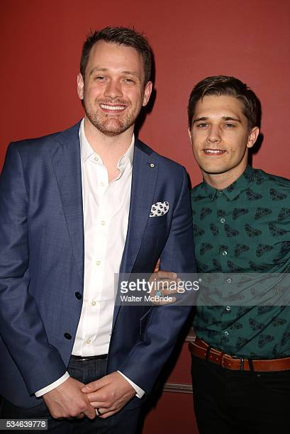 Michael Arden and Andy Mientus attend The 66th Annual Outer Critics Circle Awards Party at Sardi's on May 26 2016 in New York City