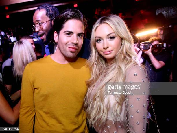 Michael Arguello and Corinne Olympios attend the VMA after party hosted by Republic Records and Cadillac at TAO restaurant at the Dream Hotel on...