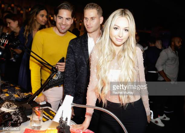 Michael Arguello Brandon Cohen and Corinne Olympios attend the VMA after party hosted by Republic Records and Cadillac at TAO restaurant at the Dream...