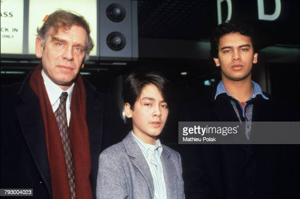 Michael Aris with his sons Kim and Alexander at Heathrow Airport in London Kim and Alexander are the sons of Michael and Burmese opposition leader...