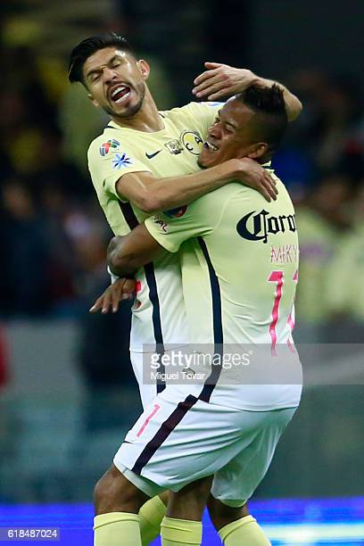 Michael Arroyo of America celebrates after scoring the first goal of his team during the semifinal match between America and Chivas as part of the...