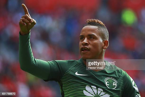 Michael Arroyo of America celebrates after scoring the first goal of his team during the 2nd round match between Toluca and America as part of the...