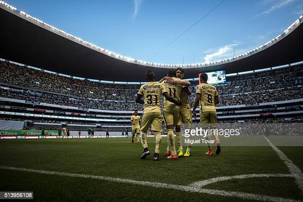 Michael Arroyo of America celebrates after scoring the fourth goal of his team during the 9th round match between America and Morelia as part of the...