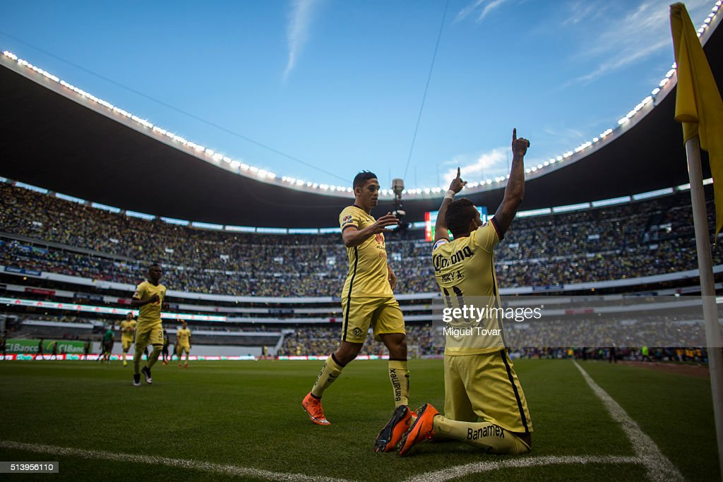 Michael Arroyo of America celebrates after scoring the fourth goal of his team during the 9th round match between America and Morelia as part of the Clausura 2016 Liga MX at Azteca Stadium on March 05, 2016 in Mexico City, Mexico.