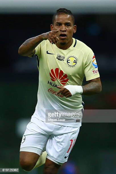 Michael Arroyo of America celebrates after scoring the second goal of his team during the 15th round match between America and Santos Laguna as part...
