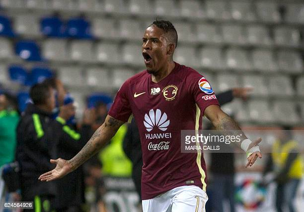 Michael Arroyo of America celebrates his goal against Pachuca during their Mexican Apertura 2016 Tournament football match at Hidalgo stadium on...