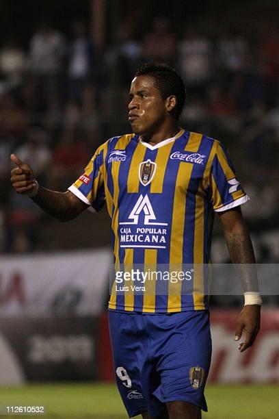 April 19: Michael Arroyo of San Luis in action during the 2011 Santander Libertadores Cup at Nicolas Leoz Stadium on April 19, 2011 in Asuncion,...