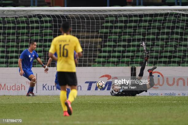 Michael Asong saves a shot during the AFC U23 Championship qualifier between Malaysia and Philippines at Shah Alam Stadium on March 22 2019 in Shah...
