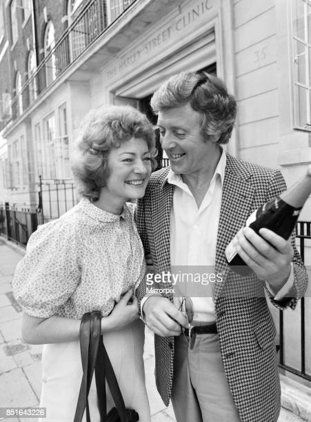 Michael Aspel and his wife Lizzie Power leaving a Harley Street Clinic 5th June 1982