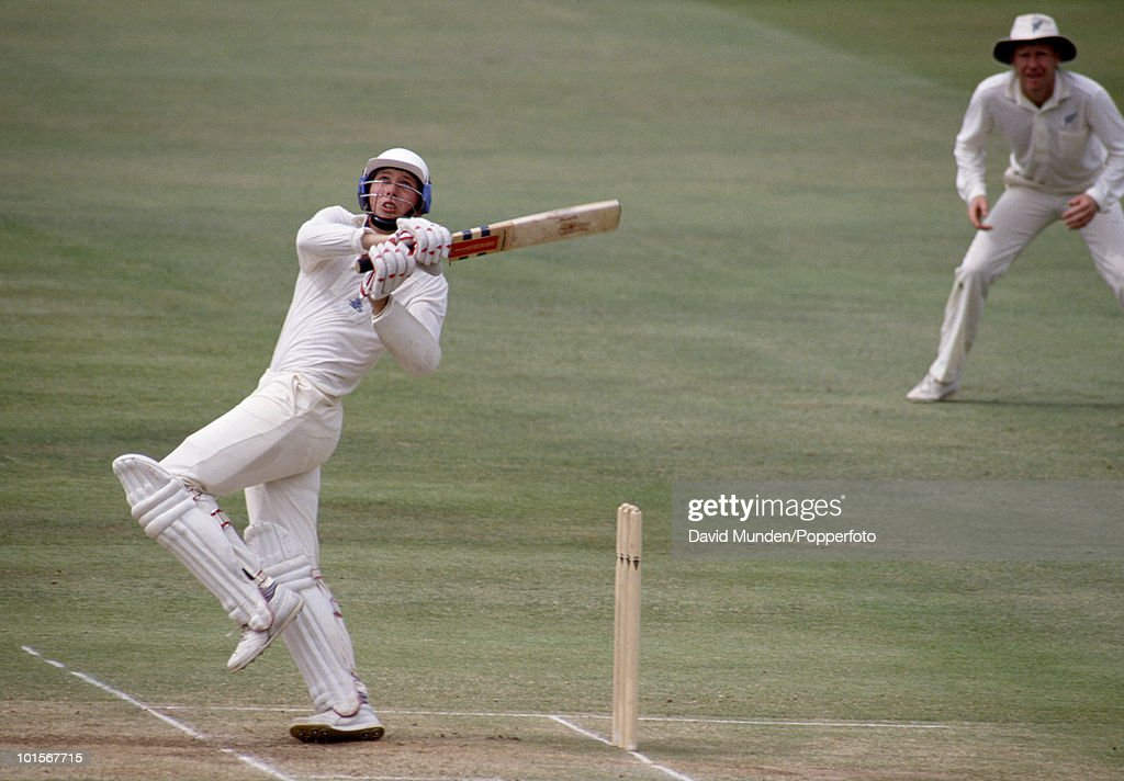 Michael Atherton batting for England on the fourth day of the 2nd Test match between England and India at Old Trafford in Manchester, 13th August 1990. Atherton made 74 runs in the second innings. The match ended in a draw.