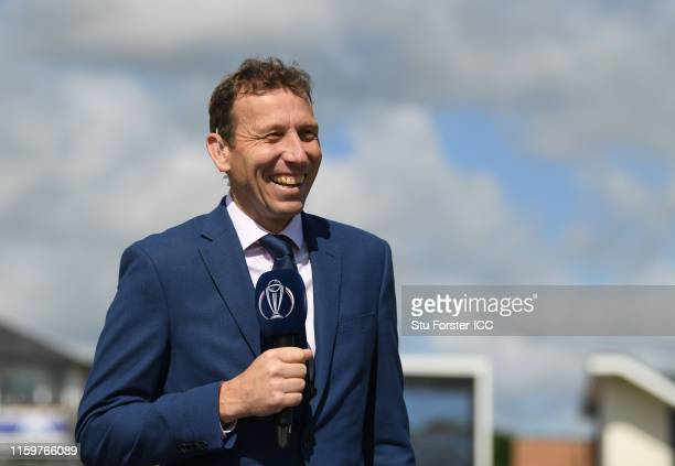 Michael Atherton looks on during the Group Stage match of the ICC Cricket World Cup 2019 between England and New Zealand at Emirates Riverside on...