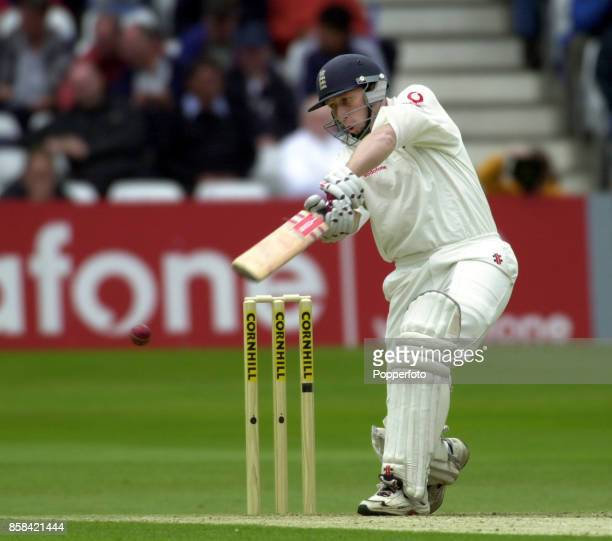 Michael Atherton of England batting during the Second Cornhill Test match between England and Zimbabwe at Trent Bridge in Nottingham England on June...