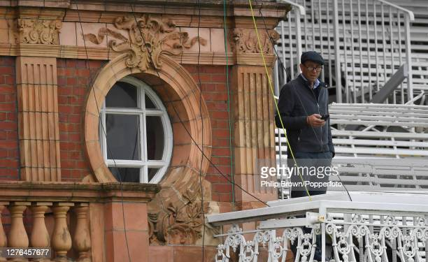 Michael Atherton of Sky Sports and the Times newspaper looks on from the pavilion during the second day of the Bob Willis Trophy Final between...