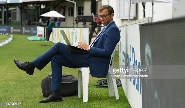 Michael Atherton of Sky Sports and the Times works on a computer before the presentations after England won the Third Test between England and South...