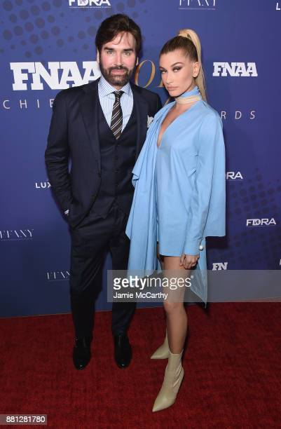 Michael Atmore of Footwear News and Hailey Baldwin attends the 31st FN Achievement Awards at IAC Headquarters on November 28, 2017 in New York City.