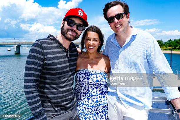 Michael Atmore, Shamin Abas and Paul Mesher attend Allied Marine Yacht Hop In Sag Harbor at Sag Harbor Cove Marina on June 30, 2019 in Sag Harbor, NY.