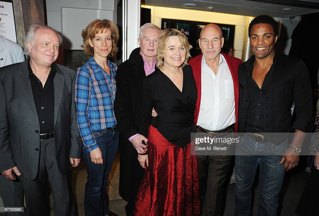 Michael Attenborough, Juliet Stevenson, Sir Derek Jacobi, Sinead Cusack, Patrick Stewart and Ray Fearon attend the Almeida 2010 Fundraising Gala, at the Almeida Theatre on March 14, 2010 in London, England.