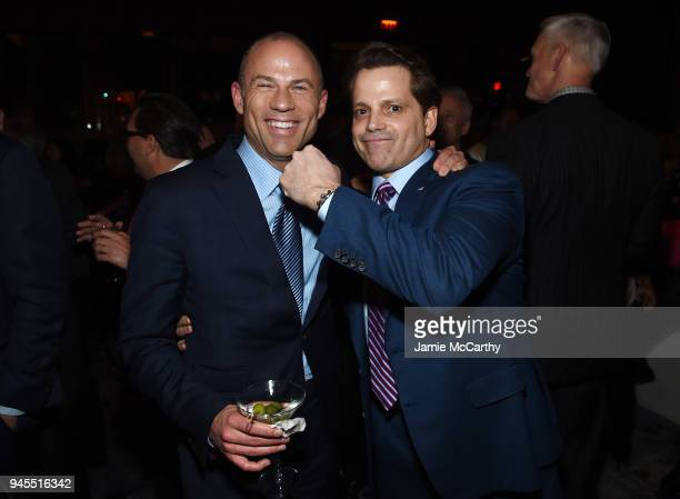 Michael Avenatti and Anthony Scaramucci attend The Hollywood Reporter's Most Powerful People In Media 2018 at The Pool on April 12 2018 in New York...